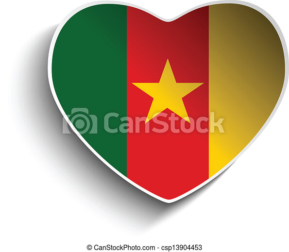Cameroon flag heart paper sticker csp13904453