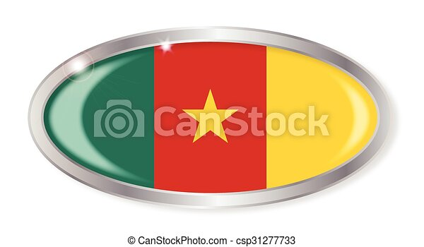 Cameroon Flag Oval Button - csp31277733