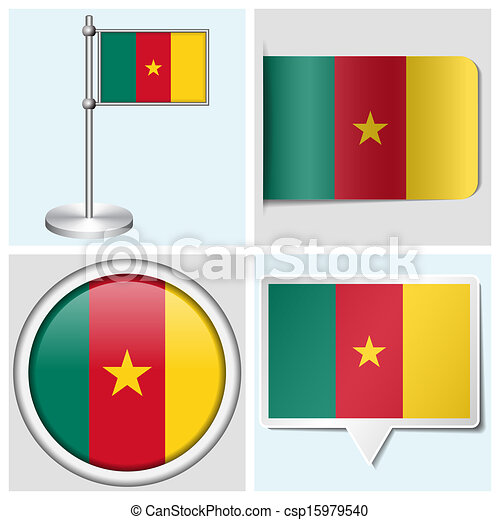 Cameroon flag set of various sticker button label and flagstaff csp15979540