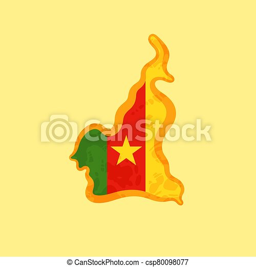 Cameroon - Map colored with Cameroonian flag - csp80098077