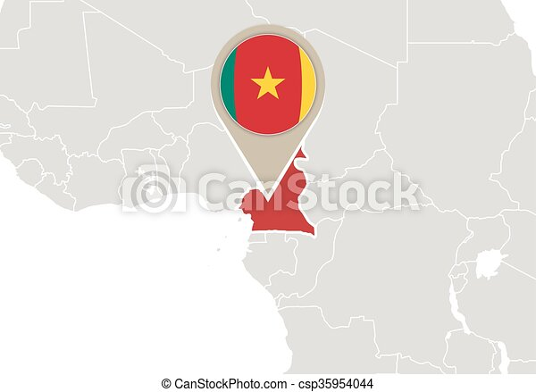Cameroon on world map. Africa with highlighted cameroon map and flag.
