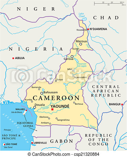 Cameroon political map Political map of cameroon with vector