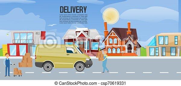 El concepto del poster de servicio logístico de transporte de camiones de cartón para los negocios de deleite. Ilustración de vectores de mensajeros entrega cajas de transporte. - csp70619331