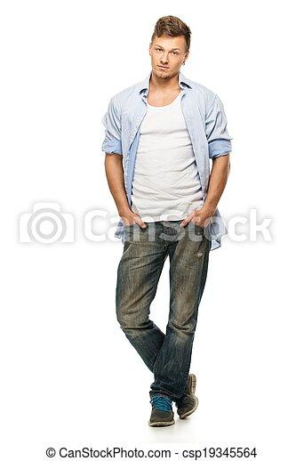 super popular 61ffa 3b425 camicia blu, jeans, isolato, orecchino, elegante, bianco, uomo