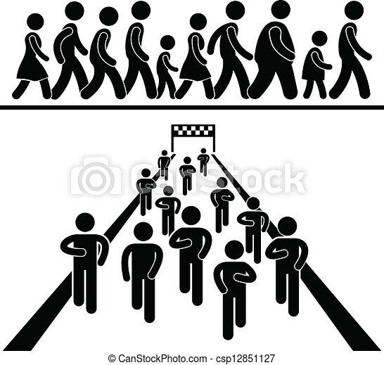 Paseo comunitario y pictograma - csp12851127