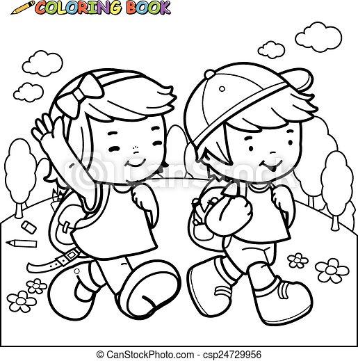 Caminata, escuela, libro colorear, niños. Niño, ambulante, colorido ...