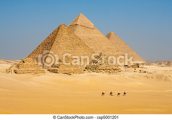 caminata, línea, camellos, todos, pirámides - csp5001201
