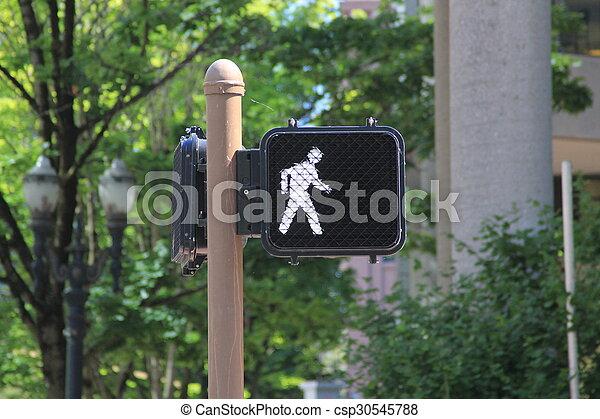 Una señal para cruzar la carretera - csp30545788