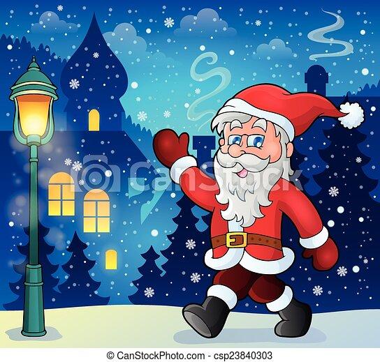 Santa Claus camina el tema 6 - csp23840303