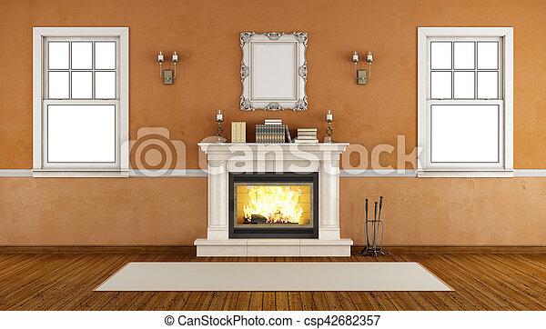 caminetto, retro, stanza vuota - csp42682357