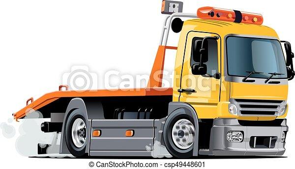 caminhão, caricatura, reboque - csp49448601