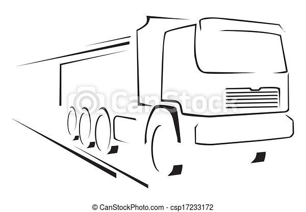 caminhão, ilustração, símbolo, vetorial - csp17233172