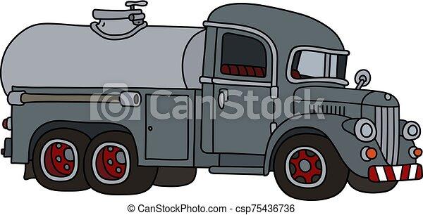 caminhão tanque, engraçado, cinzento, clássicas - csp75436736