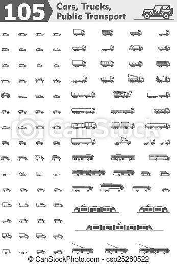 caminhões, ícones, carros, vetorial, transporte público - csp25280522