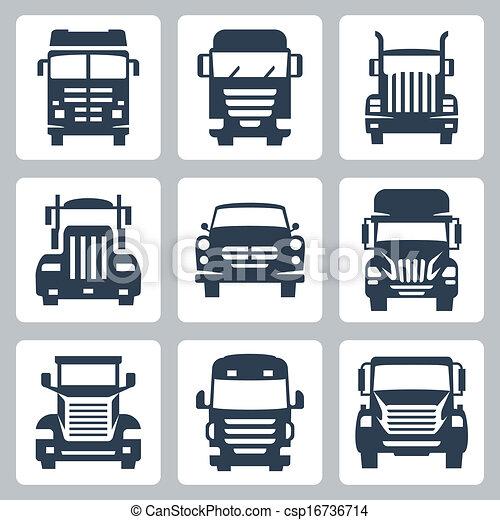caminhões, ícones, isolado, vetorial, frente, set:, vista - csp16736714