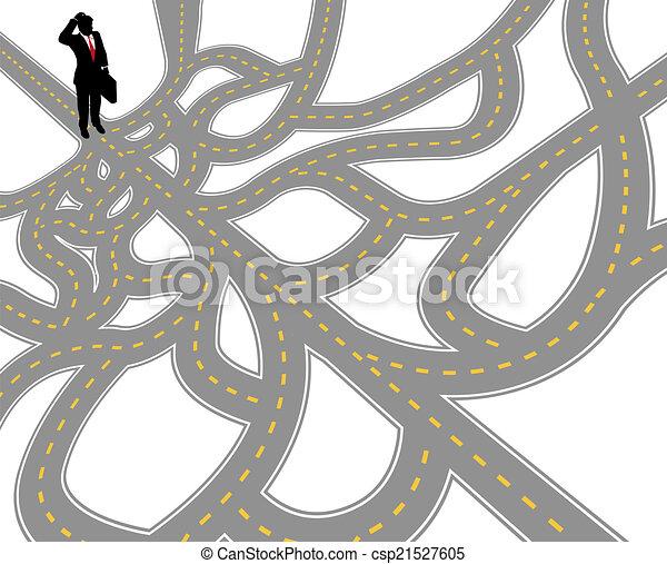 caminho, complexo, pergunta, homem negócio - csp21527605
