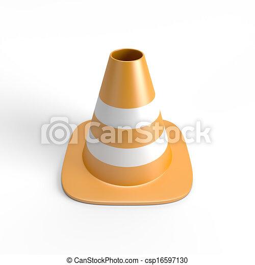 caminho, cortando, cone tráfego, 3d - csp16597130