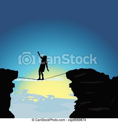 El hombre caminando sobre la cuerda floja ilustrando el vector - csp9569874