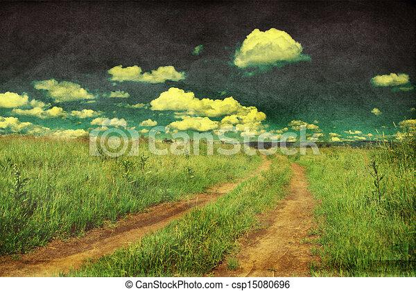 camino, foto, pacífico, retro, diseñar, país, paisaje - csp15080696