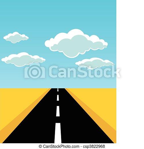 El camino sale hacia el horizonte. Una ilustración del vector - csp3822968