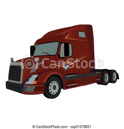 camion, camion, vecteur, semi, illustration - csp51378831