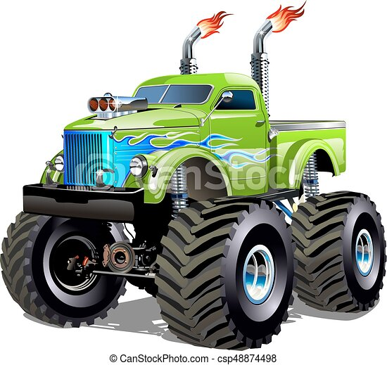 camion, cartone animato, mostro - csp48874498
