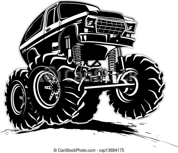 camion, cartone animato, mostro - csp13684175