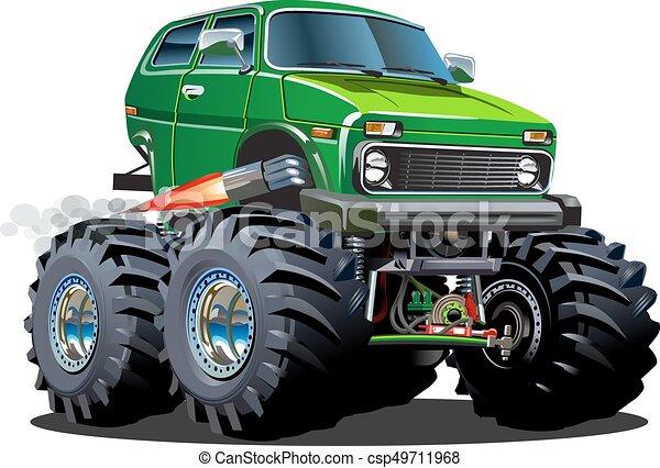 camion, cartone animato, mostro - csp49711968