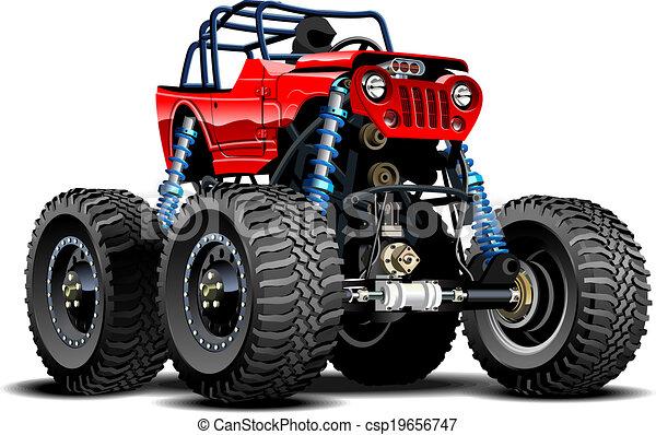 camion, cartone animato, mostro - csp19656747