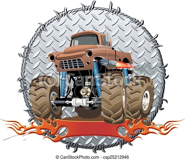camion, cartone animato, mostro - csp25212946