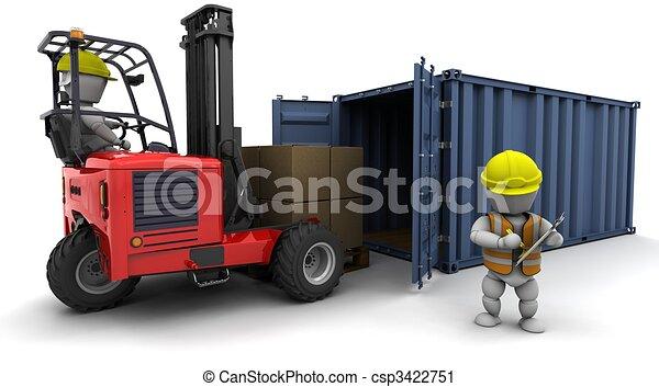 camion chariot élévateur fourche, chargement, récipient, homme - csp3422751