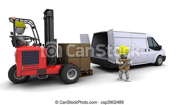 camion chariot élévateur fourche, chargement, fourgon, homme - csp3902489