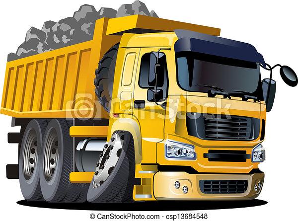 camion, dessin animé, décharge - csp13684548