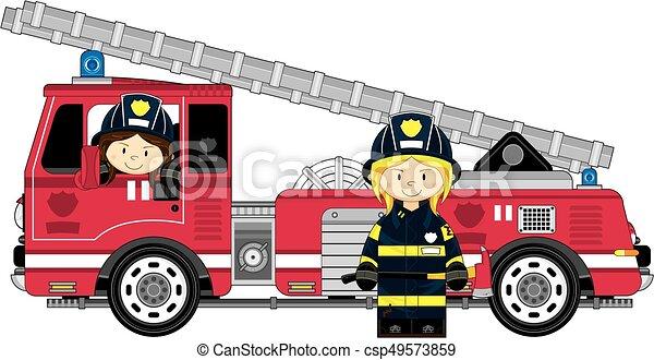 Camion Dessin Animé Pompier