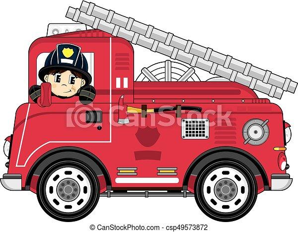 Camion dessin anim pompier mignon pompier br ler - Image camion pompier ...