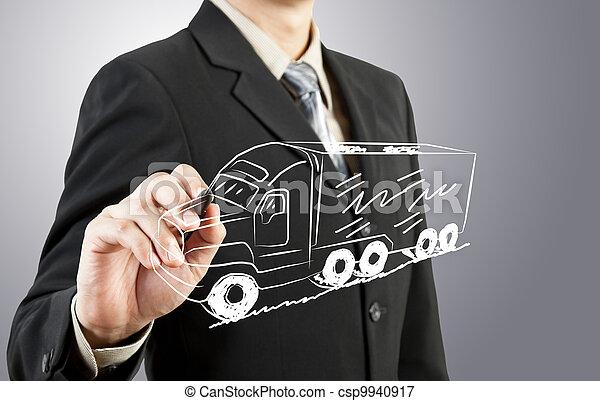 camion, disegnare, trasporto, uomo affari - csp9940917