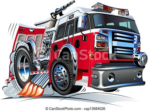 camion fuoco, cartone animato - csp13684026