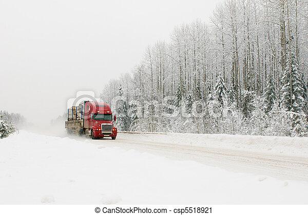 camion, hiver, route, rouges - csp5518921