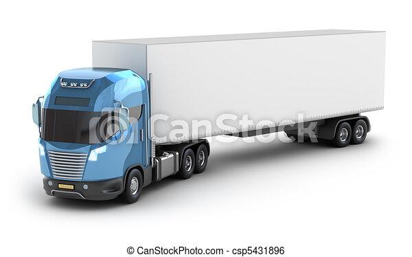 camion, moderne, récipient, cargaison - csp5431896