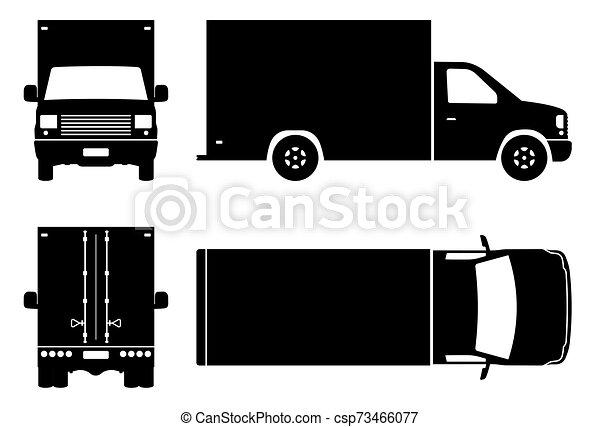 camion, noir, illustration, icônes, livraison, vecteur - csp73466077