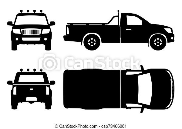 camion, noir, illustration, icônes, vecteur, pick-up - csp73466081