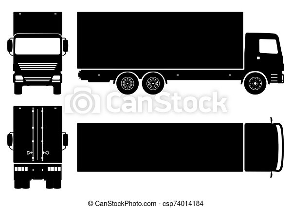 camion, noir, livraison, vecteur, icônes, illustration - csp74014184