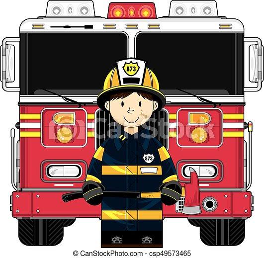 Camion Pompier Bruler Vecteur Pompier Mignon Dessin Anime Pompier Camion Illustration Canstock