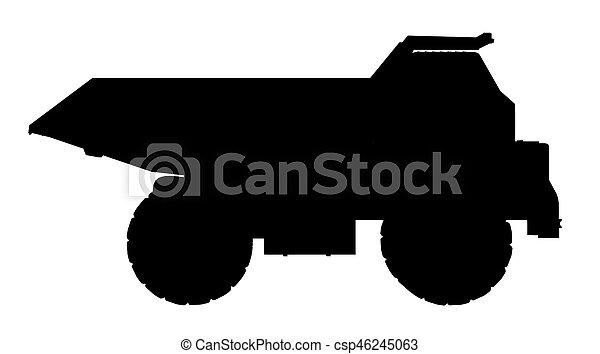 camion, silhouette, décharge - csp46245063