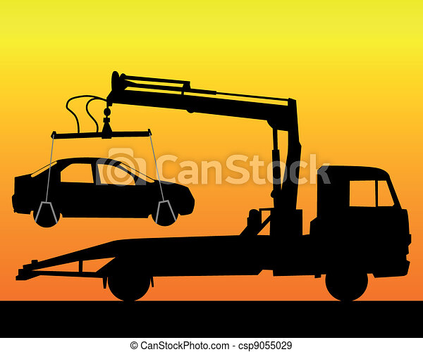 camion, silhouette, remorquage, noir - csp9055029