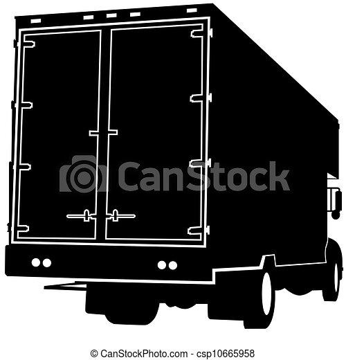 camion, silhouette, vue postérieure - csp10665958