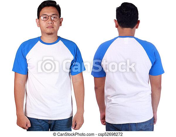 Camisa Azul Mockup Ringer Modelo Branca