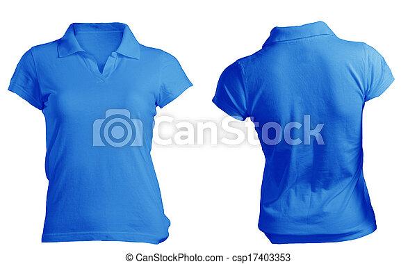Camisa Azul Mulheres Modelo Em Branco Pólo Camisa Azul
