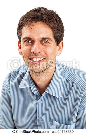 camisa, botão, jovem, baixo, casual, homem - csp24153830