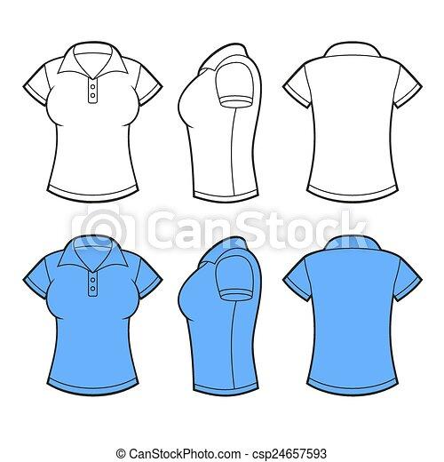 Camisa, espalda, template., lado, vector, polo, vista., frente ...